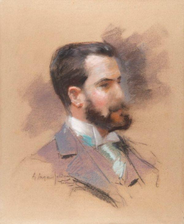 Retrato al pastel de José Lázaro Galdiano por Joaquín Vaamonde. Pinterest.com
