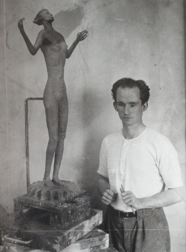 Staffan Norlinds durante sus estudios de escultura.