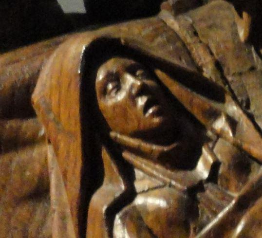 La muerte de la Virgen. Adriaen van Wesel. s.XV.  Detalle. Rijksmuseum. Amsterdam. Foto R.Puig