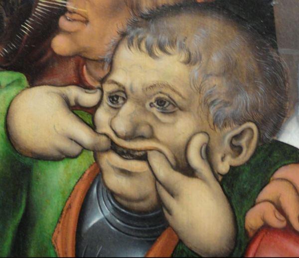 Maestro del retablo Pflock. La coronación de espinas. Detalle. ca. 1520. Museo de Bellas Artes. Gante. Foto R.Puig