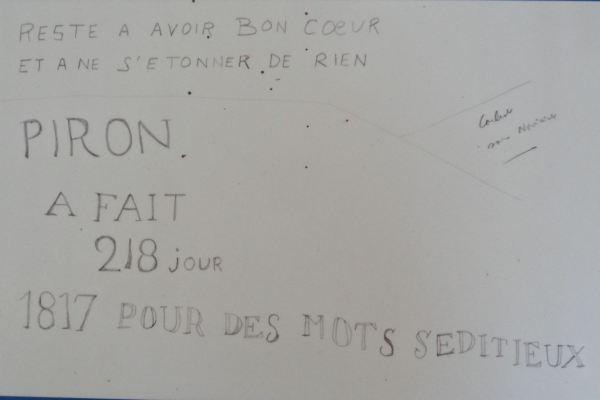 Inscripción de un preso en el muro de Fontevraud en 1817.