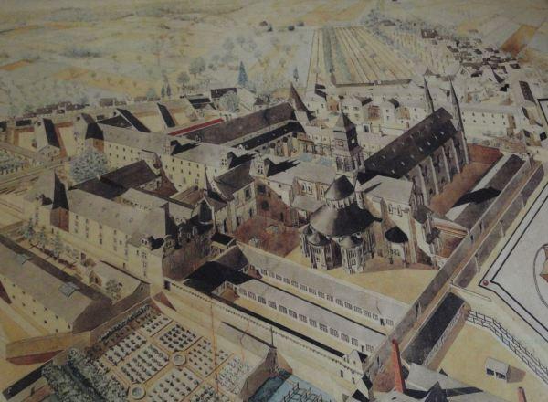 Representación aérea de la abadía de Fontevraud en su época de prisión. Foto R.Puig