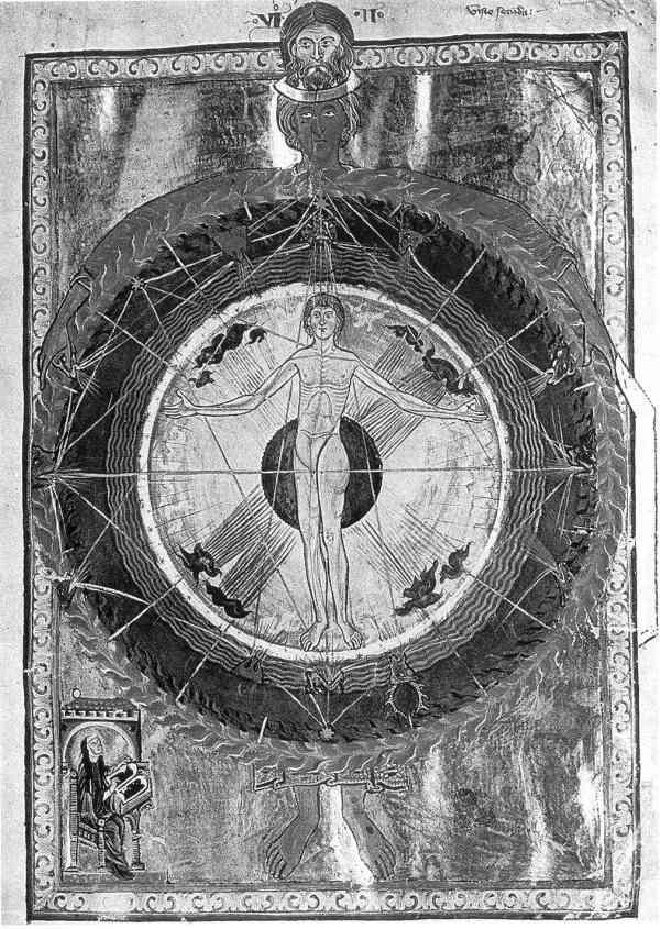 Visión del Cosmos de Hildegard av Bingen. Códice de Lucca.
