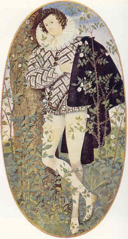 Amante melancólico entre rosas por Nicholas Hillyarde (15 x 5,50). Victoria and Albert Museum
