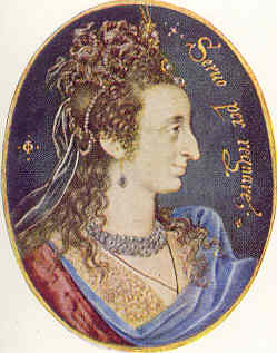 Ana de Dinamarca por Isaac Oliver (5,33 x 4,57 cm) Collección Real del Castillo de Windsor