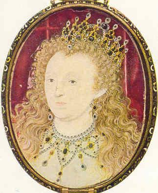 La reina Isabel por Nicholas Hillyarde (5.89 x 3.35 cm).
