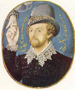 Un desconcido por Nicholas Hillyarde, 1588 (5,84 x 3,32). Victoria and Albert Museum