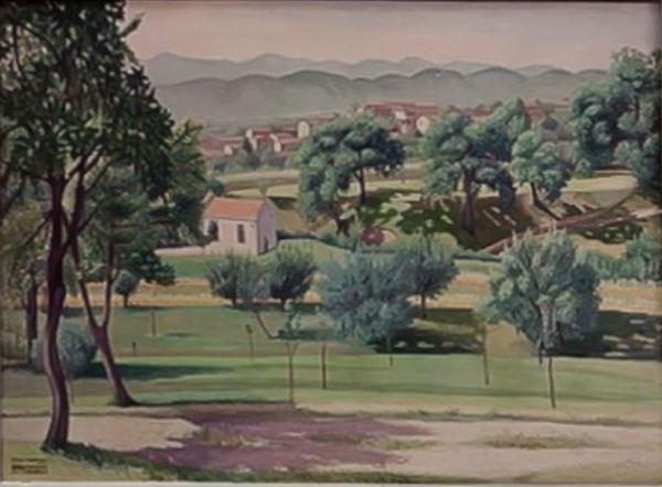 Cagnaccio di San Pietro. Vista de Pederobba, 1936. Galería Gomiero, Milán y Padua