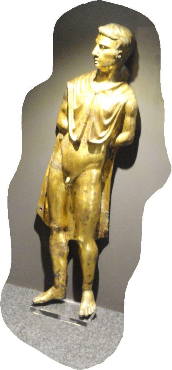 Un prisionero bárbaro. Bronce dorado. Museo de Brescia. Mitad del siglo I. Foto R.Puig
