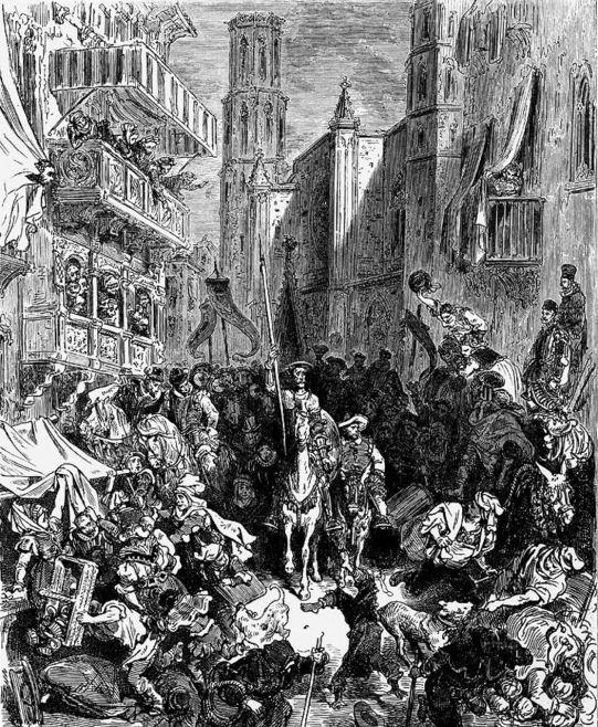 Gustave Doré. Don Quijote entra en Barcelona