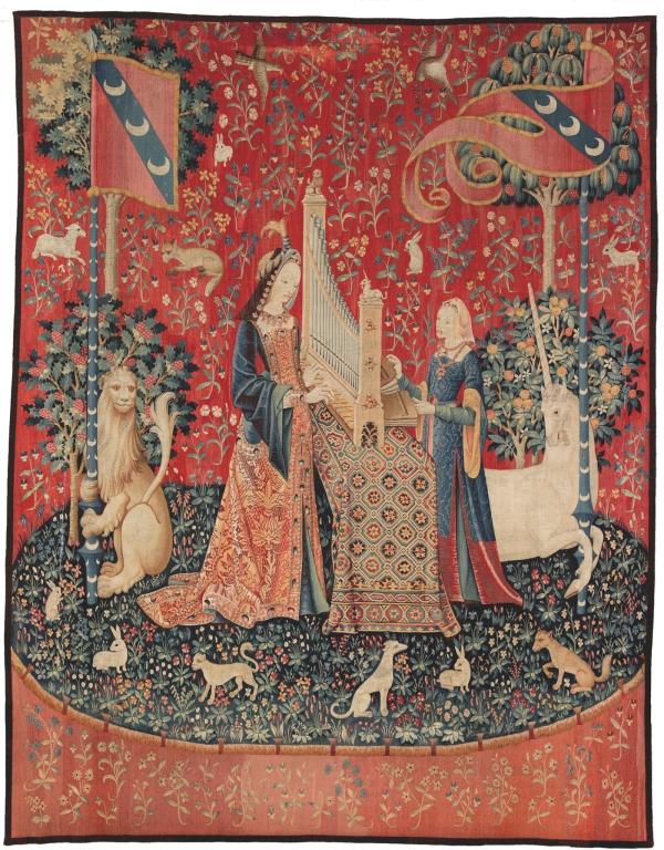 El sentido del oído. Tapiz de la Dama del unicornio. Museo de Cluny. Foto Michel Urtado