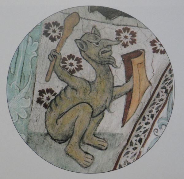 Härkeberga. Diablo irritado. Albertus Pictor. Hacia 1480. Foto Tord Harlin