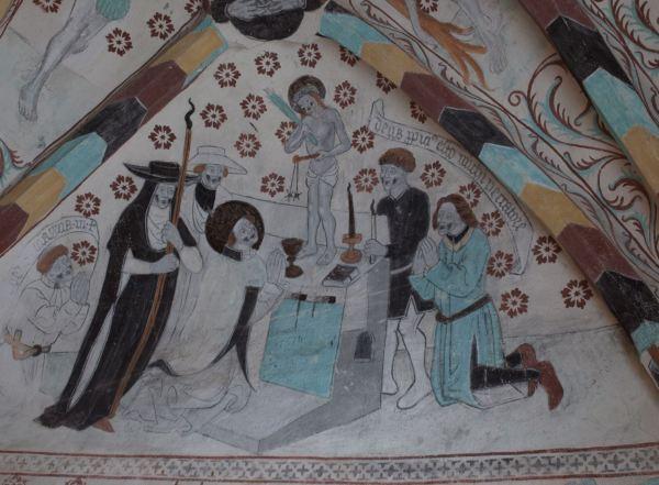 Härkeberga. El milagro de la misa de San Gregorio. Albertus Pictor. Hacia 1480. Foto R.Puig