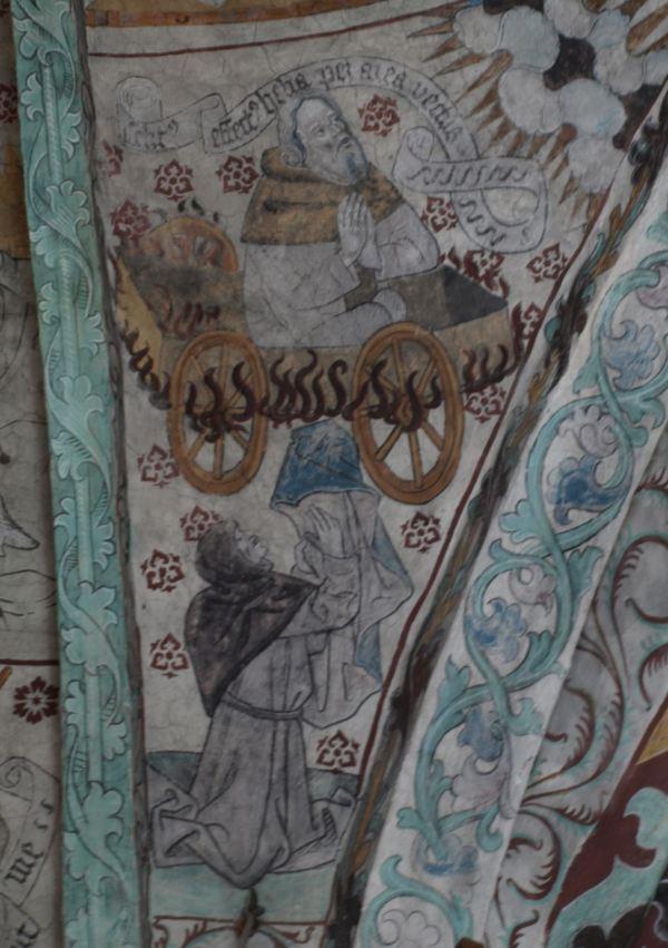 Härkeberga. Elías en el carro de fuego. Albertus Pictor. Hacia 1480. Foto R.Puig