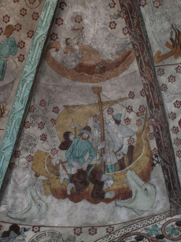 Härkeberga. La aventura de Jonás y la ballena. Albertus Pictor. Hacia 1480. Foto R.Puig