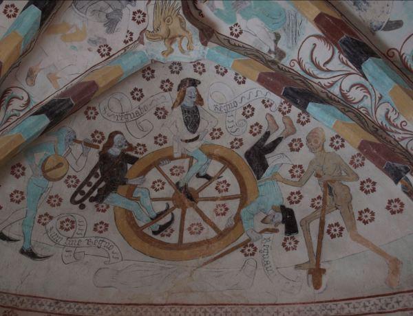 Iglesia de Härkeberga. La rueda de la fortuna. Albertus Pictor. Hacia 1480. Foto R.Puig