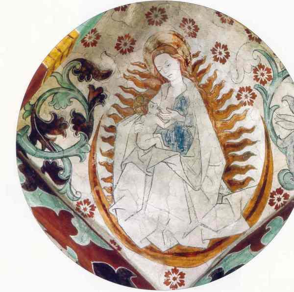 Härkeberga. Maria como la mujer del Apocalipsis.Albertus Pictor. Hacia 1480. Foto Tord Harlin