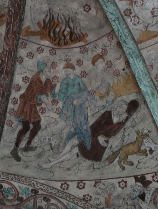 Härkeberga. Noé borracho y sus hijos. Albertus Pictor. Hacia 1480. Foto R.Puig