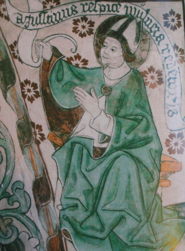 Härkeberga. San Agustín en su verde manto. Albertus Pictor. Hacia 1480. Foto Tord Harlin
