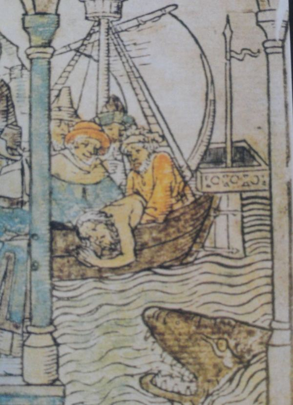 Jonás arrojado al mar. Biblia pauperum. Mediados del s.XV
