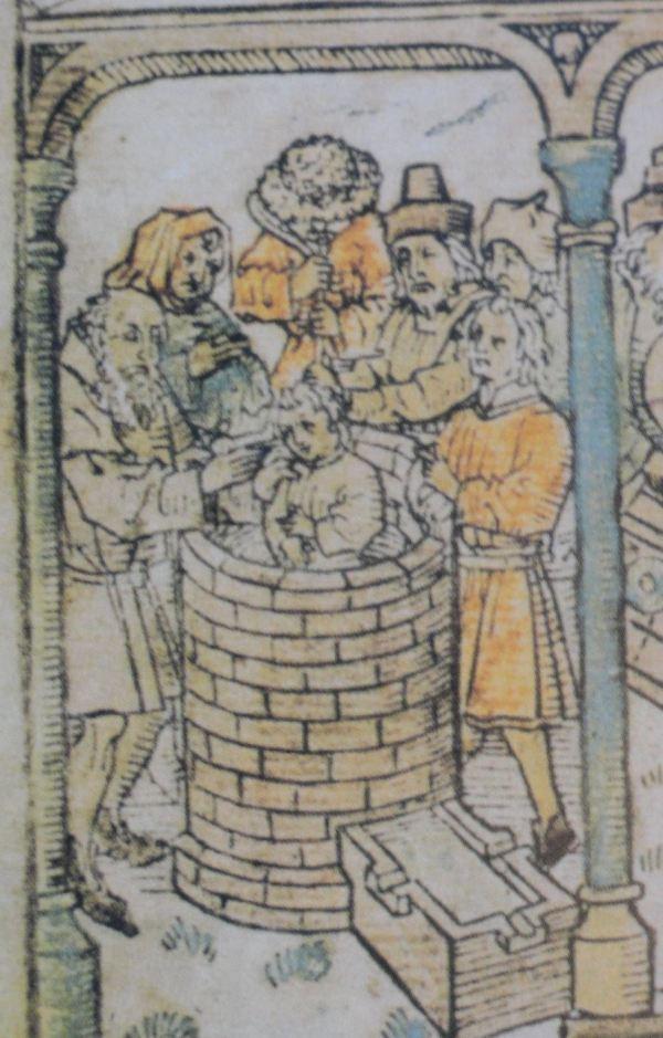 José arrojado en el pozo. Biblia pauperum. Mediados del s.XV