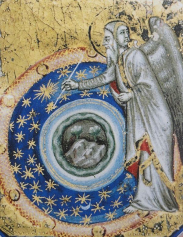 La creación del firmamento. Cristoforo Orimina. Biblia miniada. s.XIV. Berlin. Gabinete de Grabados y Dibujos.