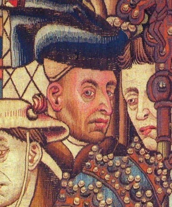 Van der Weyden, detalle del tapiz de las justicias de Trajano y Herkenbald. Museo de Historia de Berna.