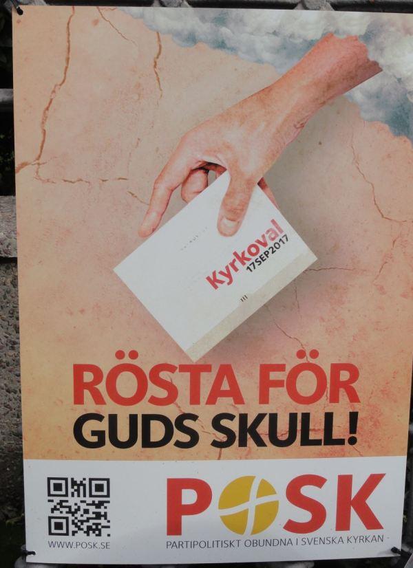"""""""Vota por el amor de Dios. POSK. Partidos Políticos Fuera de la Iglesia Sueca""""Foto R.Puig"""