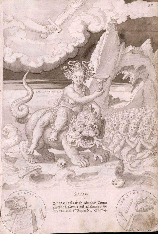 Francisco de Holanda. De Aetatibus Mundi Imagines. La Concupiscencia y caida de las civilizaciones. BNE Madrid