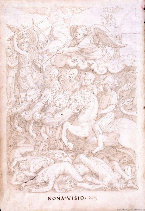 Francisco de Holanda. De Aetatibus Mundi Imagines. Los cuatro jinetes del Apocalipsis. BNE Madrid