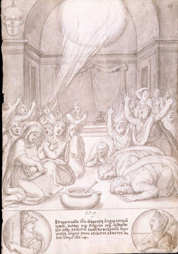 Francisco de Holanda. De Aetatibus Mundi Imagines. Pentecostés. BNE Madrid