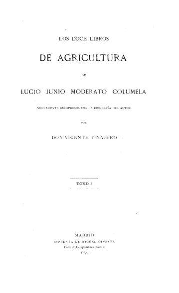 Columela. De la agricultura. Madrid. 1871. Ejemplar de la BNE