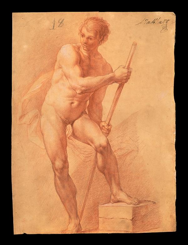 Blas Martín Hidalgo. Desnudo con piedra 1757