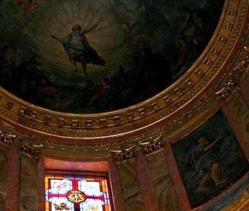 Detalle de los frescos de Sánchez Villamandos en la iglesia de San Ginés