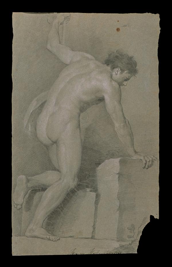 Mariano Salvador Maella Pérez. Desnudo con piedra 1760