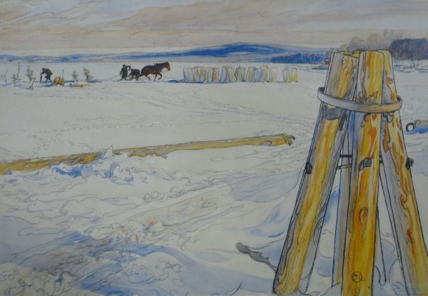 Isupptagningen (cortando hielo). Carl Larsson 1905