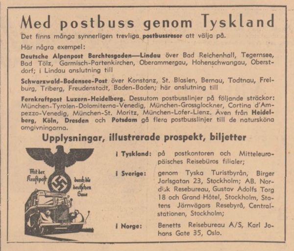 Aftonbladet. Anuncio de viajes a Alemania. 8 julio 1938