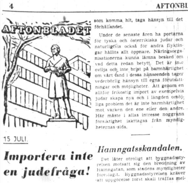 No importemos la cuestión judía. Aftonbladet 15 julio 1938