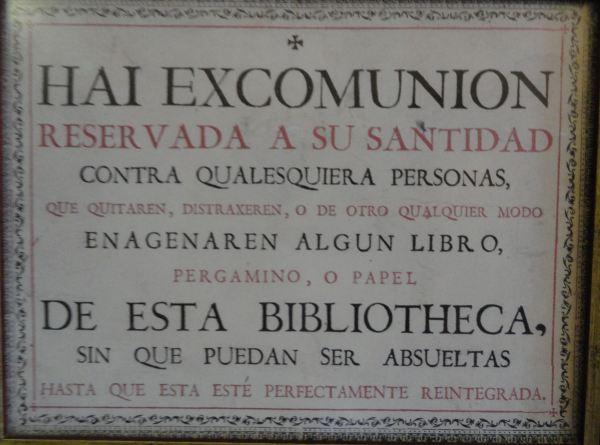 Excomunión para los que roban en las bibliotecas. Cartuja de Valldemossa. Foto R.Puig