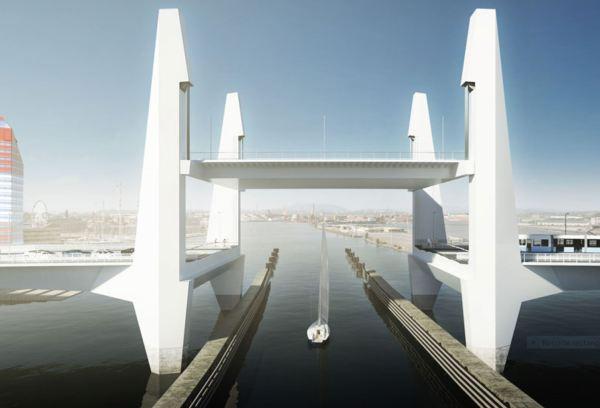 La sección elevable del puente. Imagen de Mattias Henningsson-Jönsson