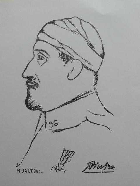 Apollinaire. Xilografía de Jaudon a partir de un dibujo de Picasso.