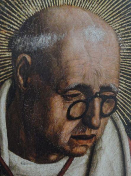 Bartolomé Bermejo. Lluis Desplà. Detalle de la. Piedad Desplà, 1490. Museo de la Catedral de Barcelona