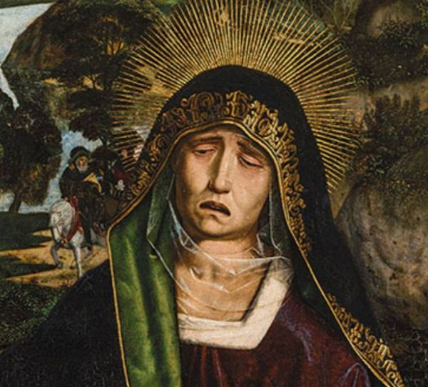 Bartolomé Bermejo. La dolorosa de la Piedad Desplà. 1490. Detalle. Museo Catedralicio. Barcelona