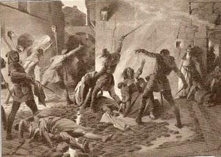 Josep Segrelles (ca. 1910). Matanza de judíos en Barcelona del año1391