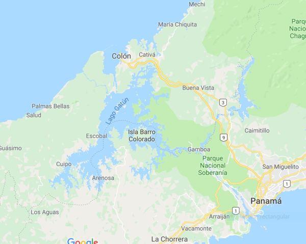 Localización de la represa de Gamboa. google maps