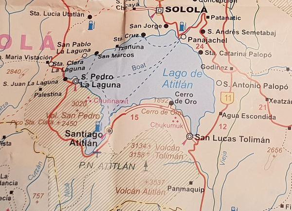 Mapa del lago Atitlán. Guatemala