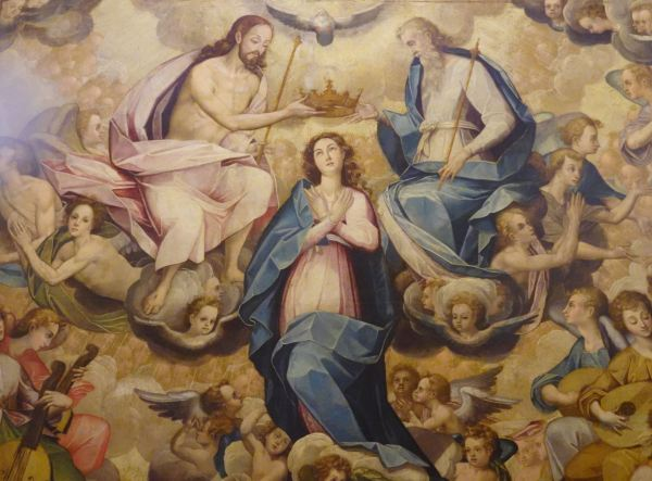 Coronación de la Virgen. Bernardo Bitti. s. XVI. Sacristía de San Pedro de Lima. Detalle. Foto R.Puig