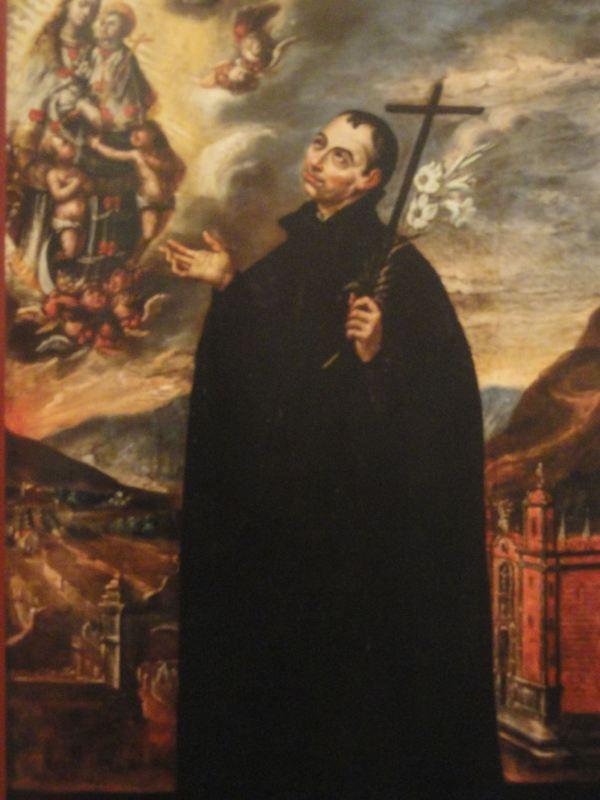 El Beato Francisco del Castillo con fondo de paisaje limeño. Cristobal Lozano. s.XVIII.San Pedro de Lima.