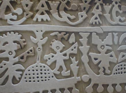 Los hombres ave, friso de los navegantes míticos. Huaca las Balsas. Túcume. Foto R.Puig