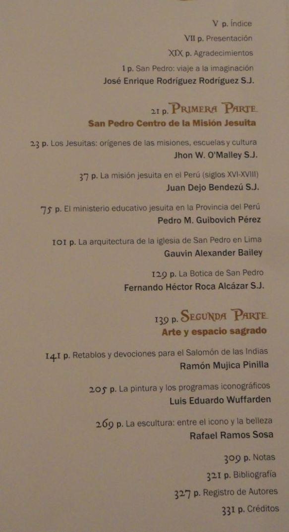 Indice del libro San Pedro de Lima. Iglesia del antiguo Colegio Máximo de San Pablo. Banco de Crédito del Perú. Lima 2018.
